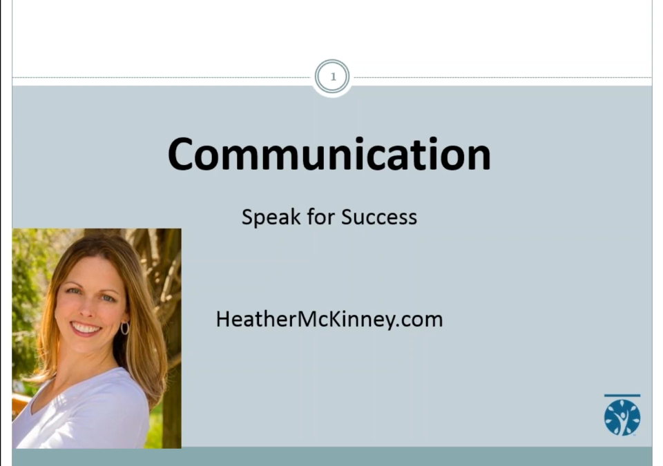 Webinar – Communication: Speak for Success